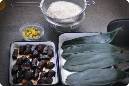 Ingredients for chimaki - Ginko, Sticky Rice, Bamboo Leaves, Taiwanese Meat