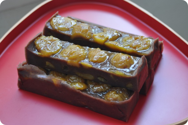 Gelled Aduki Paste with Chestnuts | 栗蒸し羊羹