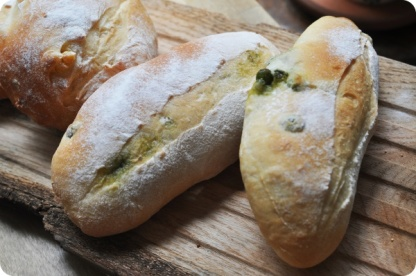 Edamame Bread with coriander leaves
