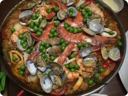 Paella with sea clams, shrimp, squid, scallops, etc.etc.