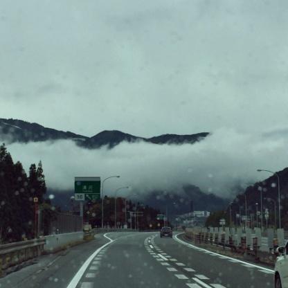 Yuzawa, Nigata Prefecture area. Clouds loom over the freeway.